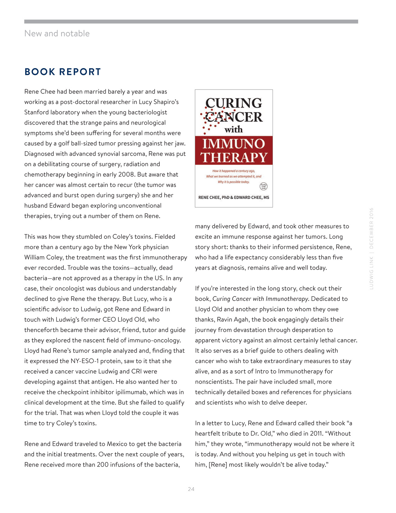 Curing cancer with immunotherapy book report Ludwig Link Newsletter